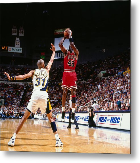 Nba Pro Basketball Metal Print featuring the photograph Reggie Miller and Michael Jordan by Nathaniel S. Butler