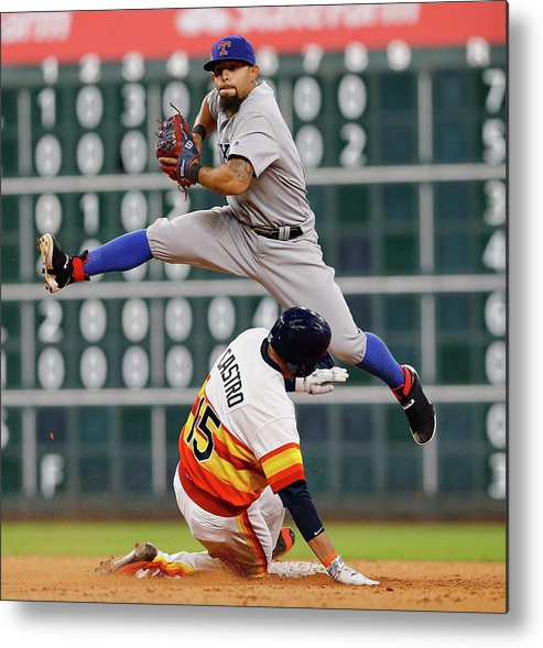 Ninth Inning Metal Print featuring the photograph Rougned Odor and Jason Castro by Bob Levey