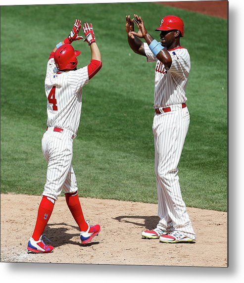 People Metal Print featuring the photograph Ryan Howard and Andres Blanco by Brian Garfinkel