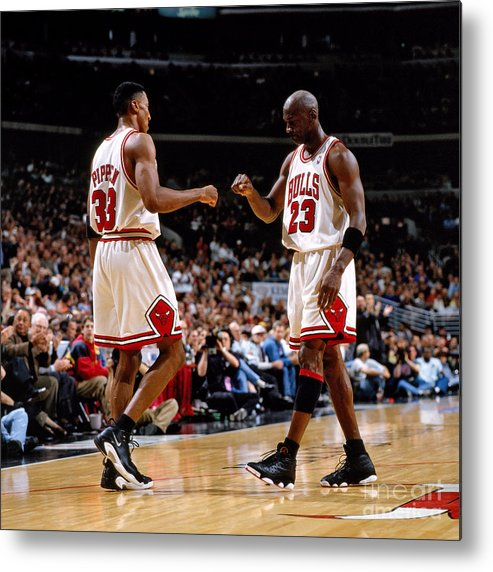 Chicago Bulls Metal Print featuring the photograph Scottie Pippen and Michael Jordan by Nathaniel S. Butler