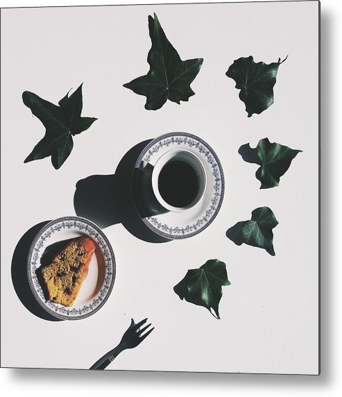 Shadow Metal Print featuring the photograph Studio Shot Of Coffee Cup And Cake Surrounded By Ivy Leaves by Francesco Nacchia / EyeEm