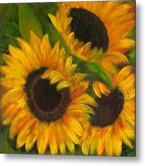 Sunflower Painting Metal Print featuring the painting Sunflowers by Tami Booher