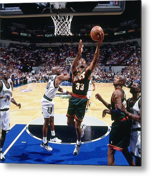 Nba Pro Basketball Metal Print featuring the photograph Terry Porter and Hersey Hawkins by Andy Hayt