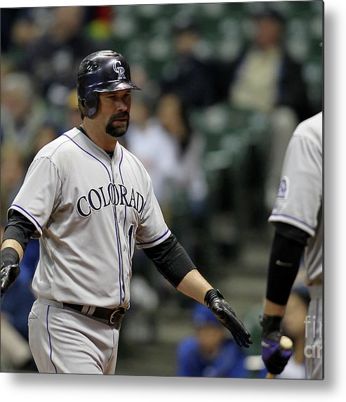People Metal Print featuring the photograph Todd Helton and Michael Cuddyer by Mike Mcginnis