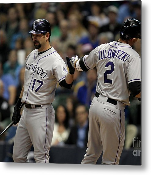 People Metal Print featuring the photograph Todd Helton and Troy Tulowitzki by Mike Mcginnis
