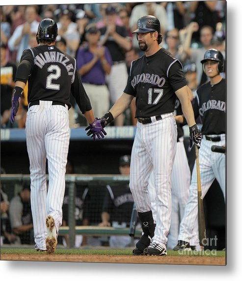 People Metal Print featuring the photograph Todd Helton, Troy Tulowitzki, and Anibal Sanchez by Doug Pensinger