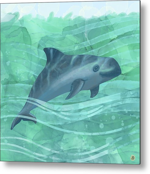 Porpoise Metal Print featuring the digital art Vaquita Porpoise Swimming in Emerald Waters by Andreea Dumez