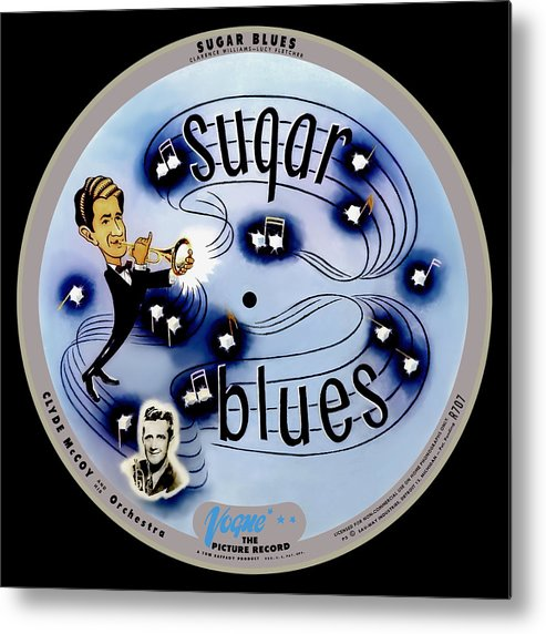 Vogue Picture Record Metal Print featuring the digital art Vogue Record Art - R 707 - P 5, Blue Logo - Square Version by John Robert Beck
