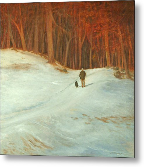 Landscape Metal Print featuring the painting Winter Walk with Dog by Phyllis Tarlow