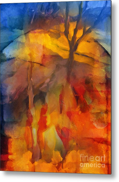 Autumn Metal Print featuring the painting Autumn Colors by Lutz Baar