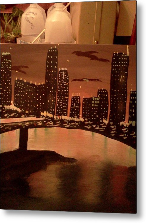 Landscape. Of City At Night And A Bridge. Metal Print featuring the painting Busy Ness by Renee McKnight