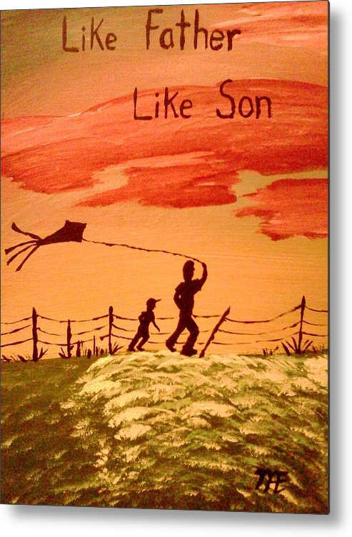 Silhouette. On Canvas Panel. Of Father And Son Flying. A Kite Metal Print featuring the painting Me And My Dad by Renee McKnight