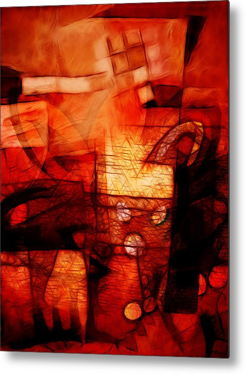 Red Drama Metal Print featuring the digital art Red Drama by Ann Croon