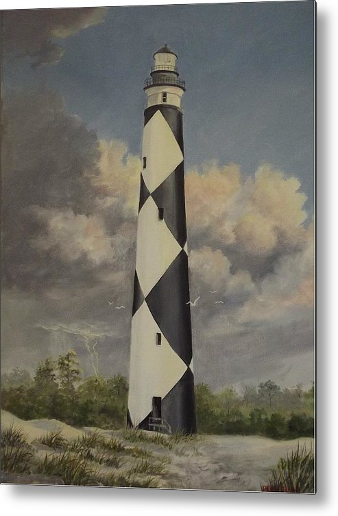 Stormy Skys Metal Print featuring the painting Storm Over Cape Fear by Wanda Dansereau