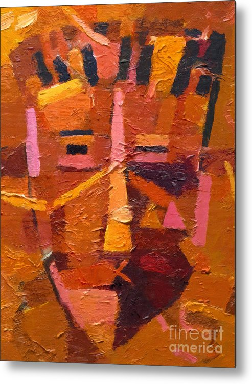 Mask Metal Print featuring the painting The Mask by Lutz Baar