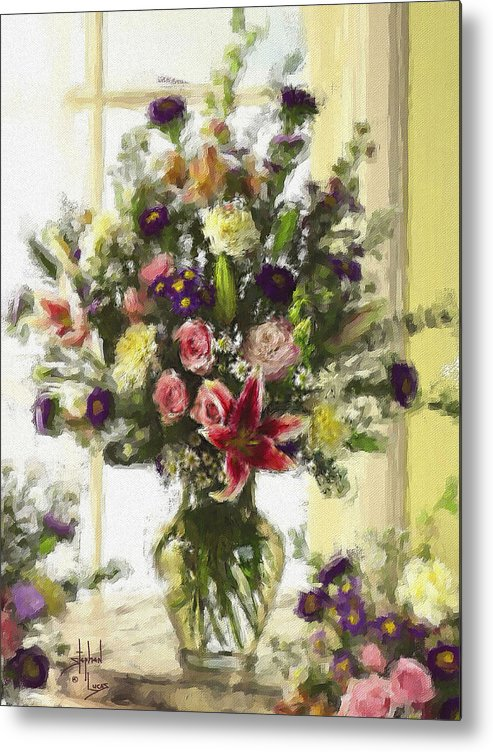 Flowers Metal Print featuring the digital art Afternoon Kissed Of Color by Stephen Lucas