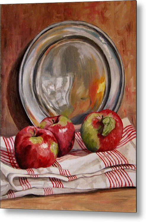 Apples Metal Print featuring the painting Apples And Pewter by Cheryl Pass