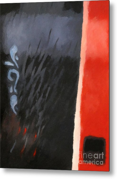 Abstract Metal Print featuring the painting Black And Red Composition by Lutz Baar
