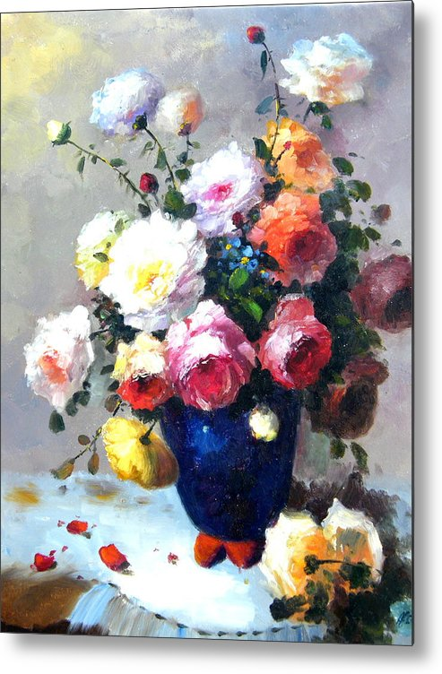 Still Life Flowers Metal Print featuring the painting Blue Vase by Imagine Art Works Studio