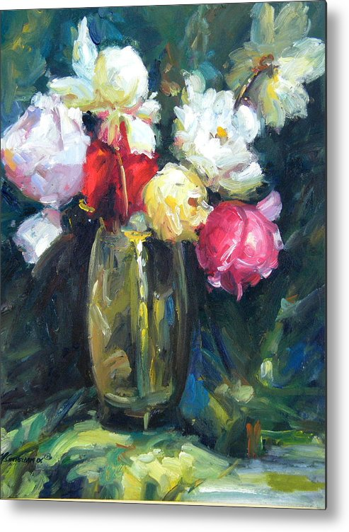 Flowers Metal Print featuring the painting Brass Vase by Imagine Art Works Studio