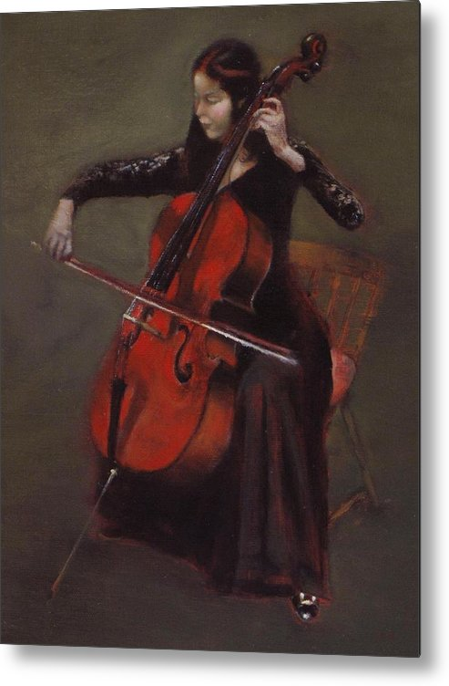 Young Lady Metal Print featuring the painting Cello Player by Takayuki Harada