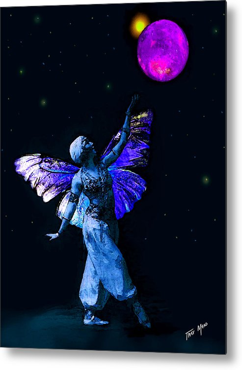 Fairy Metal Print featuring the painting Genie And The Moon by Tray Mead