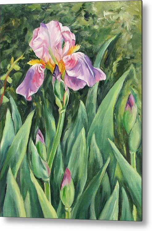 Irises Metal Print featuring the painting Irises by Cheryl Pass