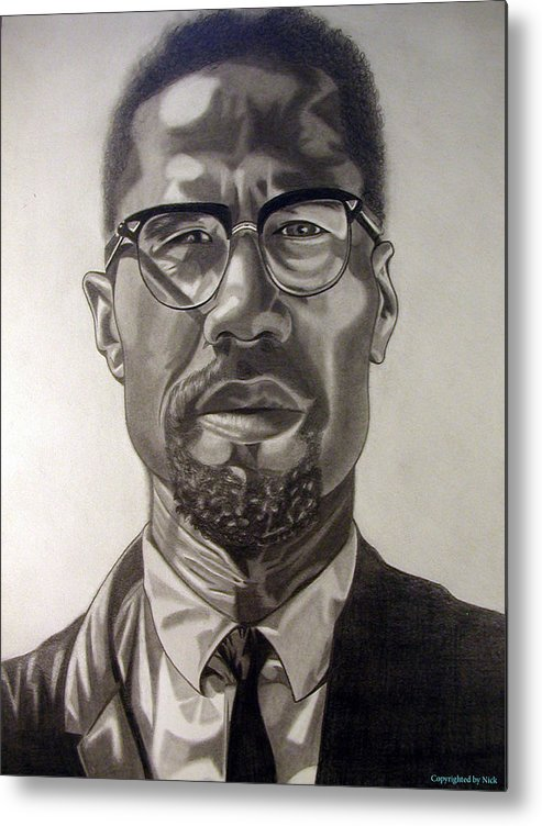 Pencil Metal Print featuring the drawing Malcom X by Nick H