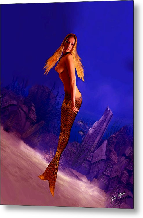 Mermaid Metal Print featuring the painting Quick Look by Tray Mead