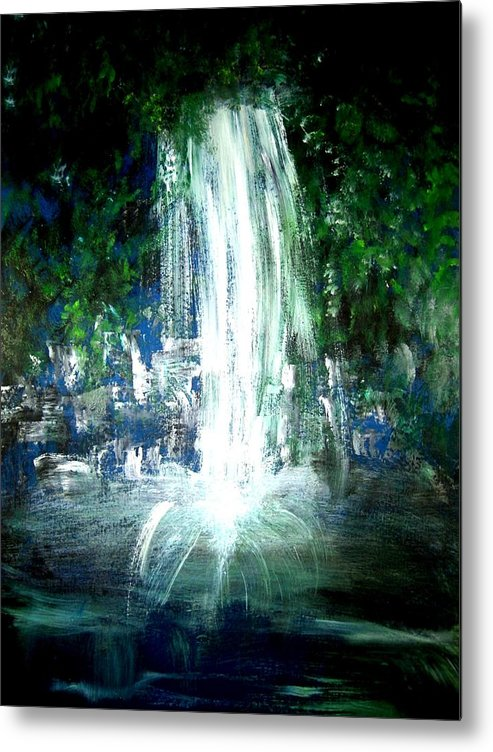 Waterfall Metal Print featuring the painting Water Falling by Michela Akers