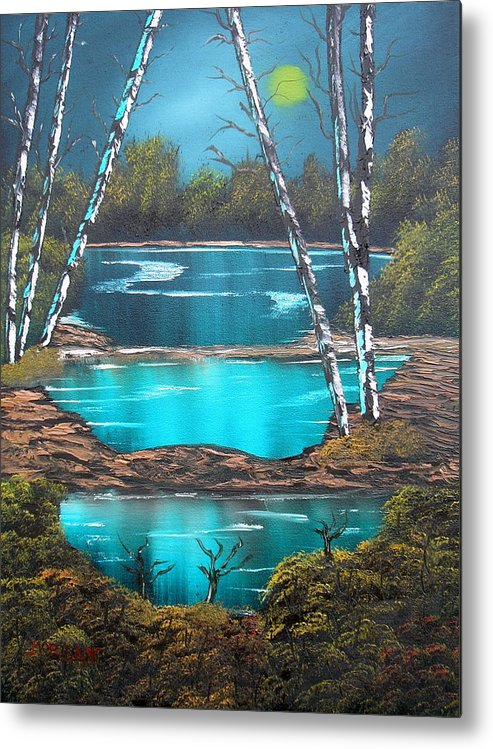 Landscape Metal Print featuring the painting Midnight Ponds by Sheldon Morgan