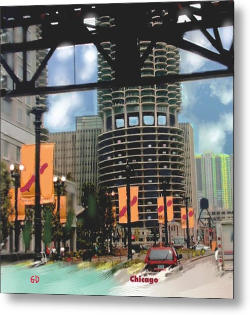 Cityscape Metal Print featuring the digital art Marina Towers -chicago by Gene Derow