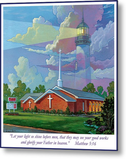 Landscape Metal Print featuring the painting Ocean View Baptist Church by Tom Wooldridge