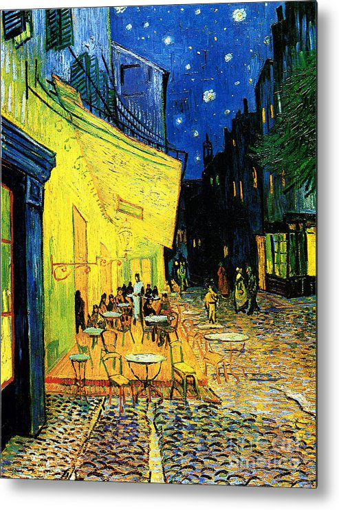 U.s.pd Metal Print featuring the painting Terrace Of The Cafe On The Place Du Forum In Arles In The Evening by Pg Reproductions