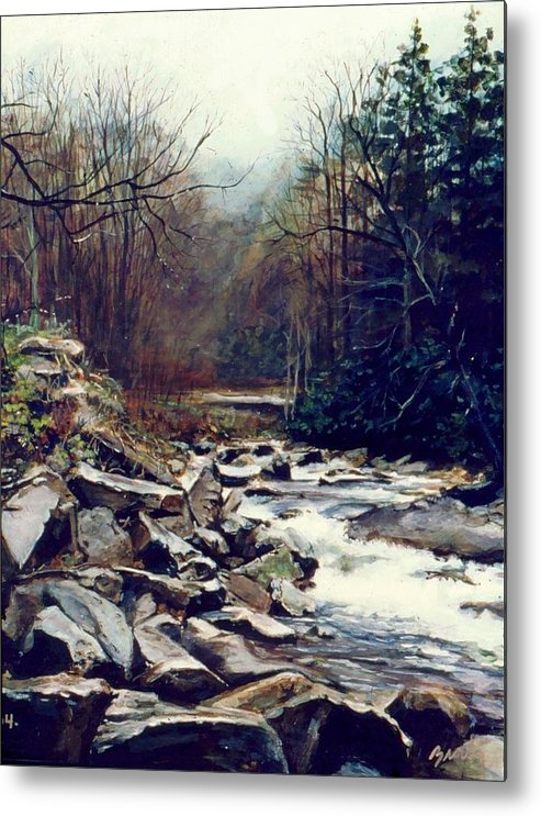 Landscape Metal Print featuring the painting Cherokee Stream by William Brody