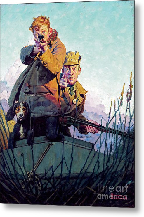 Rockwell Metal Print featuring the painting His First Duck by Norman Rockwell