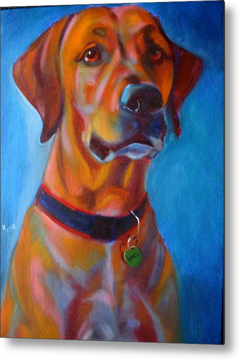 Dog Portraits Metal Print featuring the painting Miss Lucy by Kaytee Esser