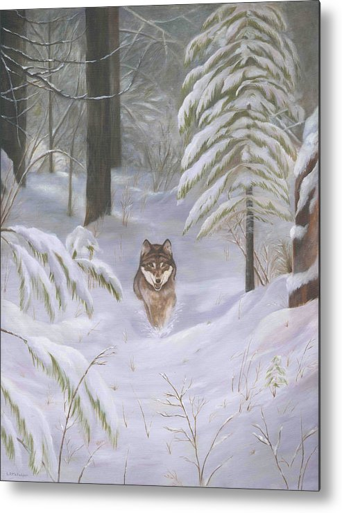 Wolf Metal Print featuring the painting Path Of Wisdom by Linda R McFadden