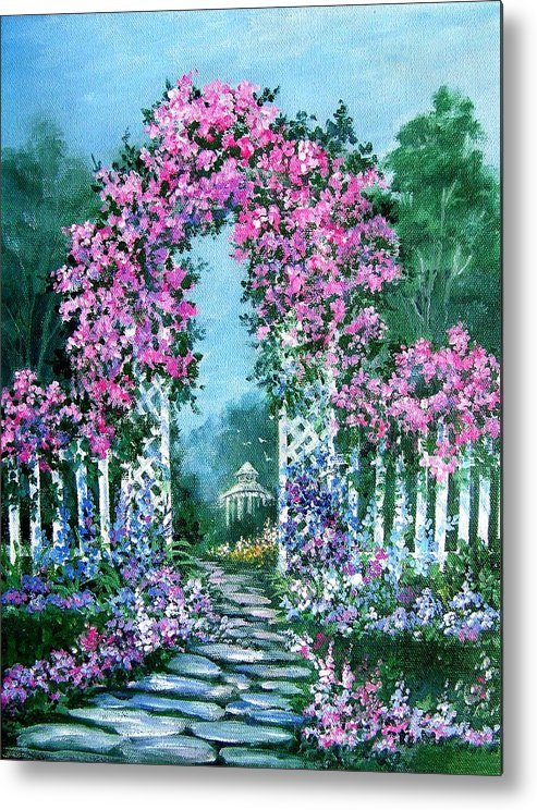 Roses;floral;garden;picket Fence;arch;trellis;garden Walk;flower Garden; Metal Print featuring the painting Rose-covered Trellis by Lois Mountz