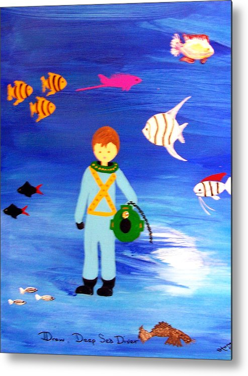 Children\\ Metal Print featuring the painting Sea Diver by Sandi Stonebraker
