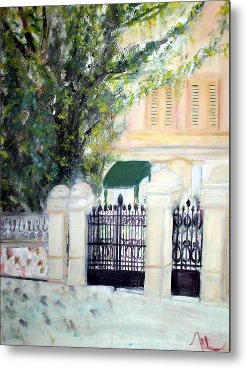 Architecture Metal Print featuring the painting The Gatehouse At Villa Mariposa by Michela Akers