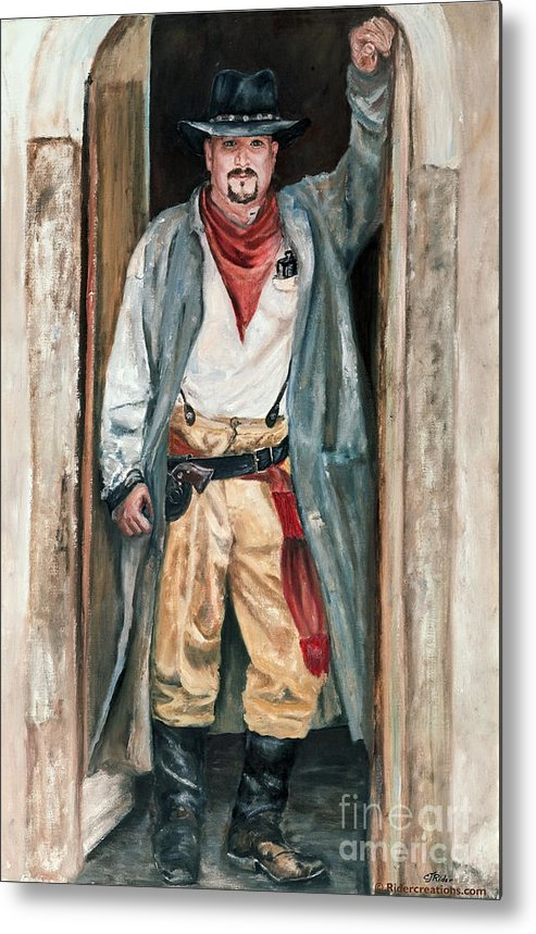 Cowboy Metal Print featuring the painting Jesse by CJ Rider