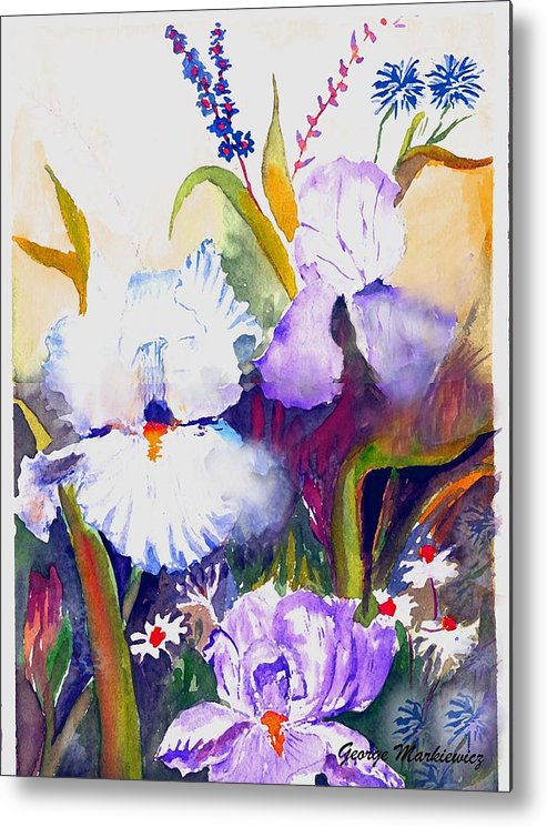 Flowers Metal Print featuring the print Iris by George Markiewicz