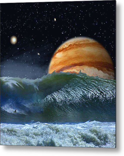 David Jackson Running The Vortex Surfing Alien Landscape Planets Scifi Metal Print featuring the digital art Running The Vortex by David Jackson