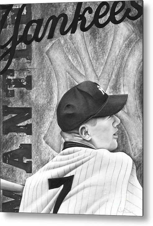 New York Yankees Metal Print featuring the drawing Mickey Mantle by Scott Hubbert
