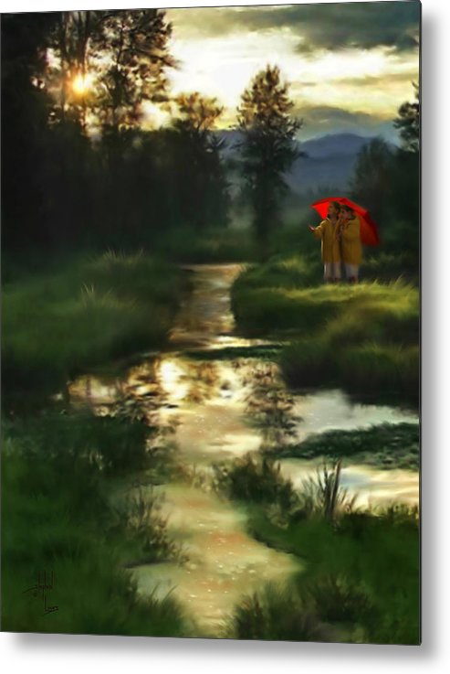Boys Metal Print featuring the digital art After Morning Rain by Stephen Lucas