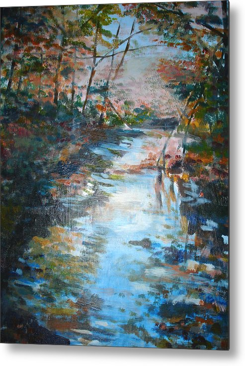 Landscape Metal Print featuring the painting Autumn Stream by Joyce Kanyuk