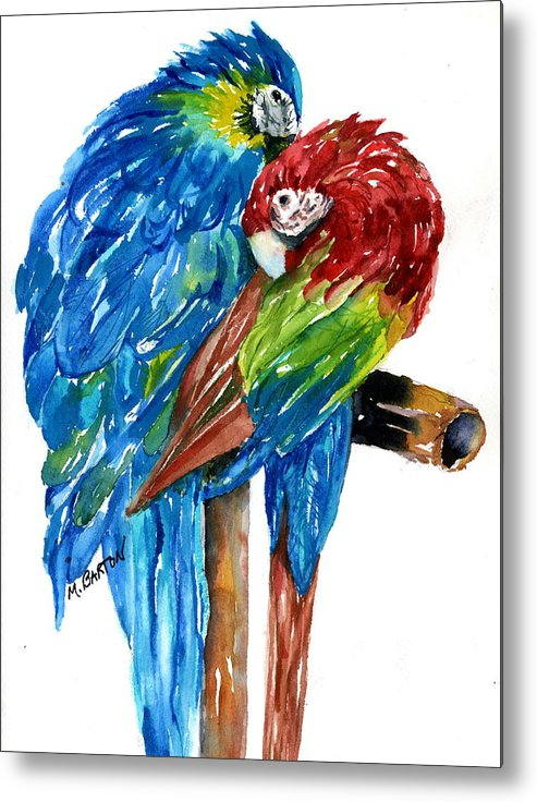 Animal Metal Print featuring the painting Birds Of Color by Marilyn Barton
