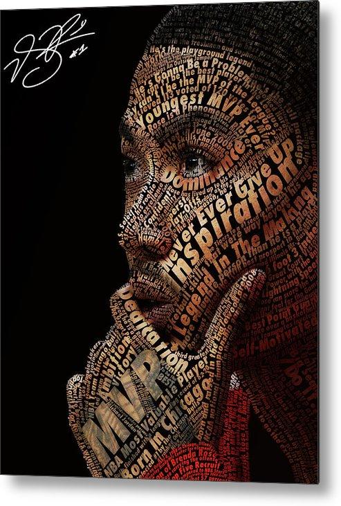 Derrick Rose Typeface Portrait Metal Print featuring the digital art Derrick Rose Typeface Portrait by Dominique Capers