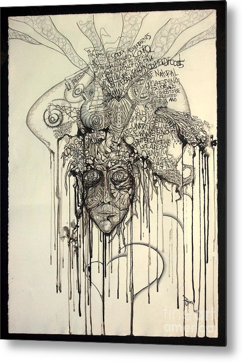 Abstract Metal Print featuring the mixed media Letting Go by Rory Canfield